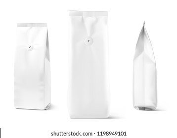Realistic coffee bag mockup isolated on white background. Front, side and 3/4 view. Easy to use for your design, presentation, adv. Vector illustration. EPS10.