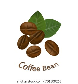 Realistic coffee beans with leaves on white background. Vector illustration.