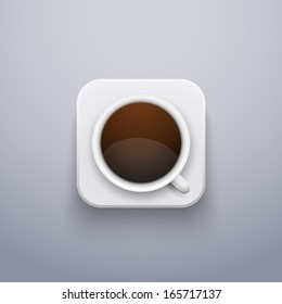 Realistic Coffee Cup Icon for Web or Application.  Vector Illustration, editable and isolated.