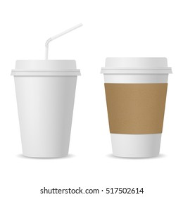 Realistic coffee cup and paper cup with straw mockup