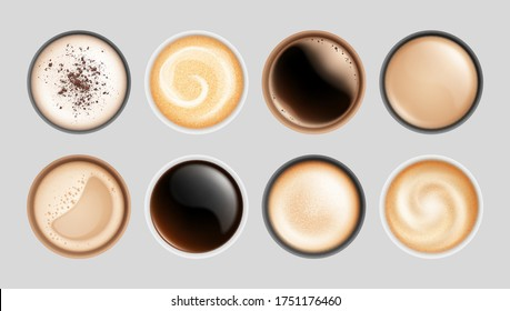 Realistic coffee cup. Top view hot latte cappuccino espresso, isolated breakfast beverages. Milk froth drinks in mugs vector illustration