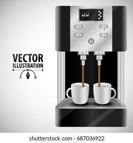 Realistic coffee machine with white cups on white background vector illustration of flat