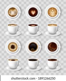 Realistic coffee mug. 3D Vector illustration for mockups. Cappuccino, americano, espresso, mocha latte cocoa