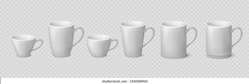 Realistic coffee mug. Blank ceramic white cup mockups isolated on transparent background, 3D porcelain teacup. Vector isolate illustration mock up clean coffee or tea drinking cups set