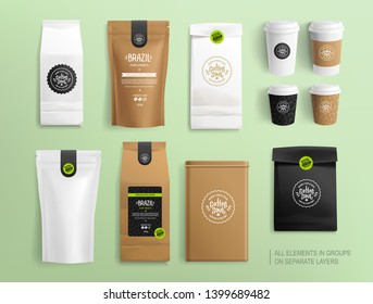 Realistic Coffee packaging mock-ups and Coffee Brand Logo for brand identity. Craft package and hot drink cups Isolated vector illustration