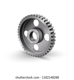 Realistic cogwheel. Belt drive mechanism. Timing pulley. Industrial background. Vector illustration.