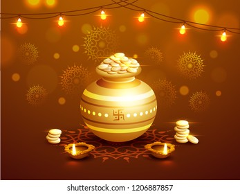 Realistic coin pot with stack of gold coin and illuminated oil lamp on brown floral background decorated with bunting lights for Dhanteras festival.