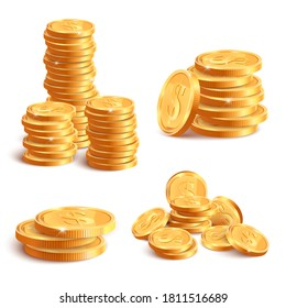 Realistic coins pile. Golden coin dollar stack, 3D jackpot coins, gold treasure prize, cash coin piles isolated vector illustration icons set. Gold money heap, gambling or banking concept