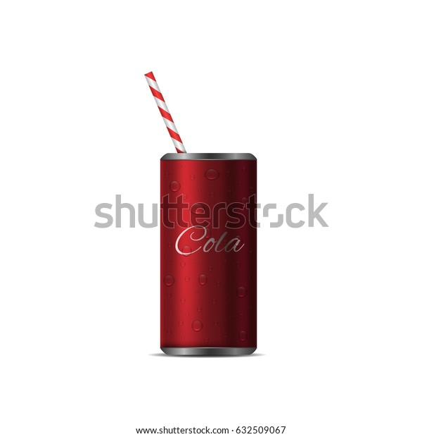Realistic Cola Can with straw. Red metal can, cold fizzy drink