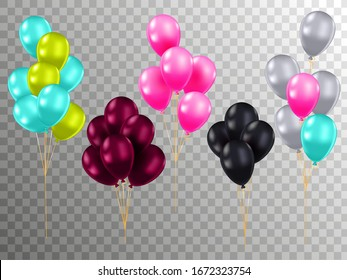 Realistic color air balloons mockups set. Bunches of colorful helium balloons with rope on checked background. Bright decoration for birthday, wedding or anniversary party vector illustration.