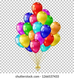 Realistic color balloons set, isolated on transparent background.