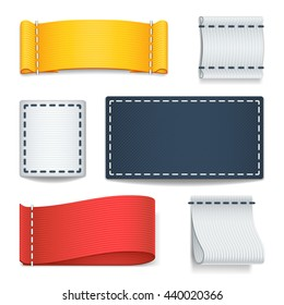 Realistic color blank fabric labels, badges with stitching vector set.
