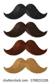Realistic color moustaches. Black, blond and brown mustache, hipster and gentleman elegance design, barbershop facial hair vintage style vector set