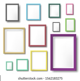 Realistic color photo frame. Rectangular picture frame hanging wall with realistic shadow, square borders and modern simple frames template. Wall photo shot album isolated vector icons set