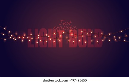 Realistic color vector illustration. Isolated glowing light bulb garland on gradient background.