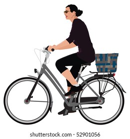 Realistic color vector illustration of young lady riding bicycle.