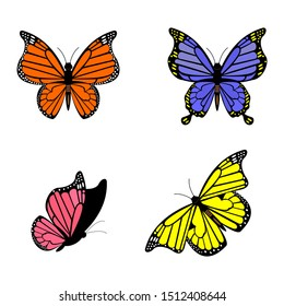 Realistic colored butterflies are isolated for spring against a white background. editable vector illustration