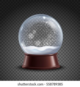 Realistic colored snow globe composition on transparent background with shadows and lights vector illustration