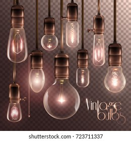 Realistic and colored vintage glowing light bulbs transparent set with included lamps in loft style vector illustration