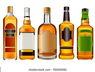 Realistic colorful alcohol bottles set