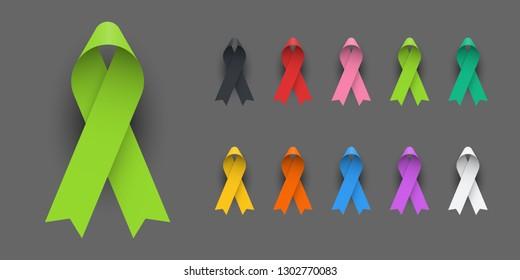 Realistic Colorful Awareness Ribbons Design Element Banner Emblem Sign Symbol Vector Illustration Various Colors on Dark Background
