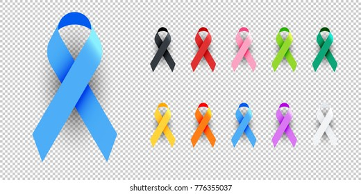 Realistic Colorful Awareness Ribbons Design Element Banner Emblem Sign Symbol Vector Illustration Various Colors on Transparent Background