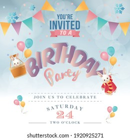 Realistic colorful Birthday poster with balloons and 3D text - vector background with copyspace