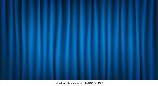 Realistic colorful blue velvet curtain folded. Vector Illustration.