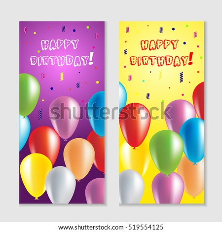 Realistic Colorful Happy Birthday Balloons For Party And Celebrations Greeting Card With
