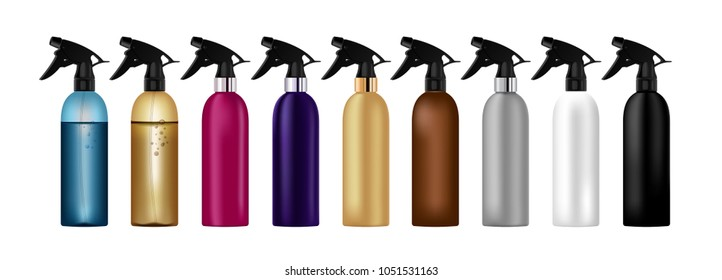 Realistic colorful, multicolor bottle for cosmetic container package set. Spray bottle.
