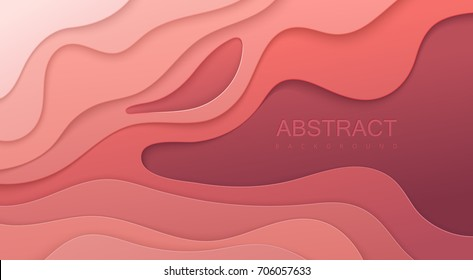 Realistic colorful paper cut background. Abstract soft pink paper poster textured with wavy layers. Topography relief imitation. Carving craft. Vector art illustration. Cover layout design template.