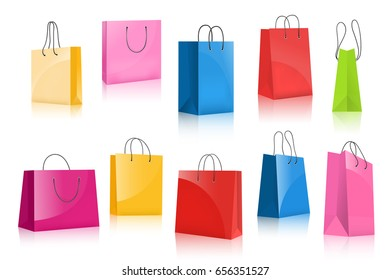 Realistic colorful paper shopping bag set isolated on white background vector illustration. Multicolored empty shopping bag for advertising and branding. Template collection for retail design.