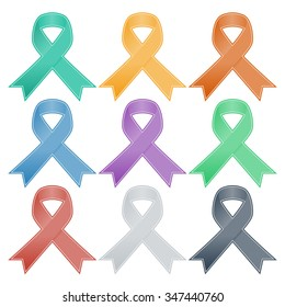Realistic colorful ribbon, breast cancer awareness symbol, isolated on white. Vector illustration, eps10.