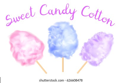 Realistic colorful sweet candy cotton isolated on white. Vector illustration.