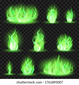 Realistic coloured fire. Green fiery blaze, magic game flaming flame, color burning spurts of flame vector illustration icons set. Green toxic burning, game blaze coloured collection