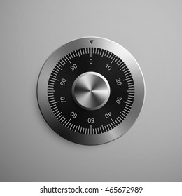 Realistic combination safe lock. Isolated on gray background. Vector Illustration, eps 10.