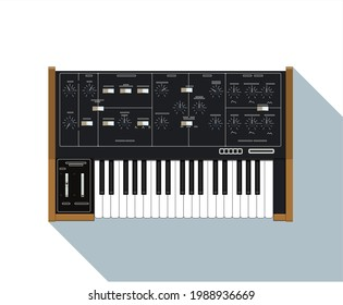 Realistic compact analog synthesizer with wood finish. An old electronic piano. Musical equipment. A device for creating sounds. Electronic music theme. Night life. Warm synth sound. A piece interior.