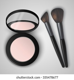 Realistic compact powder in black container with mirror and brushes. Vector illustration