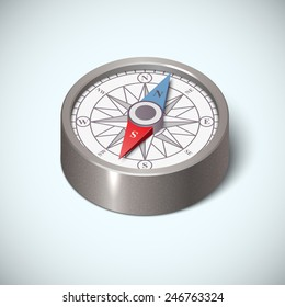 Realistic compass icon, on a white background. Silver metallic color, isometric view.  isolated vector art illustration.