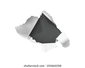 Realistic composition with white torn paper hole on dark background isolated vector illustration