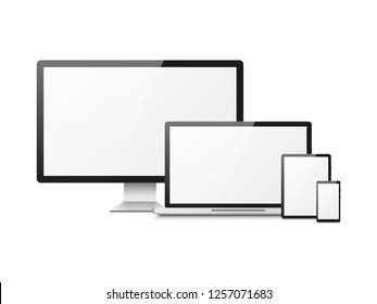 Realistic computer. Devices laptop tablet phone smartphone monitor, computer desktop screen, responsive vector web layout