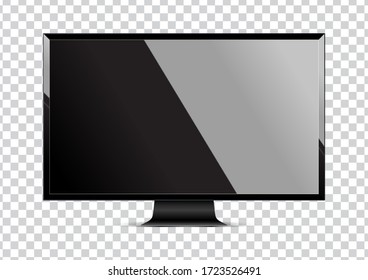 Realistic computer display and icon monitor isolated on transparent background. Vector illustration