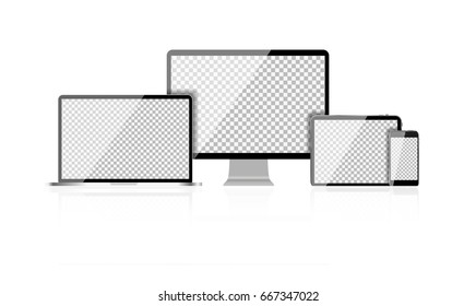 Realistic Computer Laptop, Mobile Phone, Tablet PC with Abstract Transperent Wallpaper on Screen Isolated on White Background. Vector Illustration EPS10