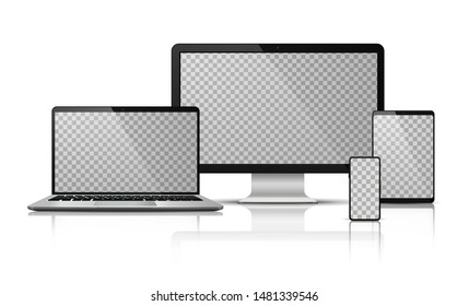 Realistic computer laptop smartphone with transparent screen. Tablet gadget template, pc laptop mobile devices mockup. Vector isolated device screen for graphics presentations wallpaper design