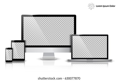 Realistic Computer, Laptop, Tablet and Mobile Phone with Transparent Wallpaper Screen Isolated. Can Use for Template Presentation. Set of Device Mockup. Separate Groups and Layers. Easily Editable.