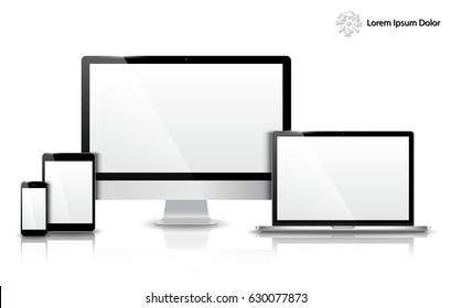 Realistic Computer, Laptop, Tablet and Mobile Phone with Blank Wallpaper Screen Isolated. Can Use for Template Presentation. Set of Device Mockup. Separate Groups and Layers. Easily Editable.