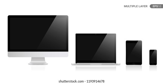 Realistic Computer, Laptop, Tablet and Smartphone with black Wallpaper Screen Isolated on white. Set of Device Mockup Separate Groups and Layers. New Easily Editable Vector.