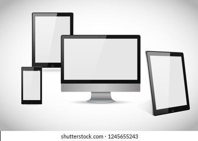 Realistic computer, laptop, tablet and smartphone vectors isolated on white