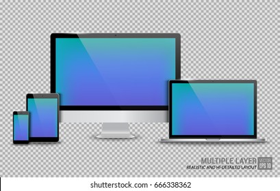 Realistic Computer, Laptop, Tablet and Smartphone with Blue Wallpaper Screen Isolated on Transparent Background. Use for Template. Set of Device Mockup. Separate Groups and Layers. Easily Editable.