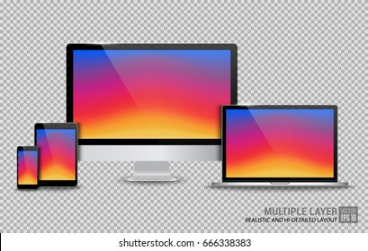 Realistic Computer, Laptop, Tablet and Smartphone with Instagram Wallpaper Screen on Transparent Background. Can Use for Template. Set of Device Mockup. Separate Groups and Layers. Easily Editable.